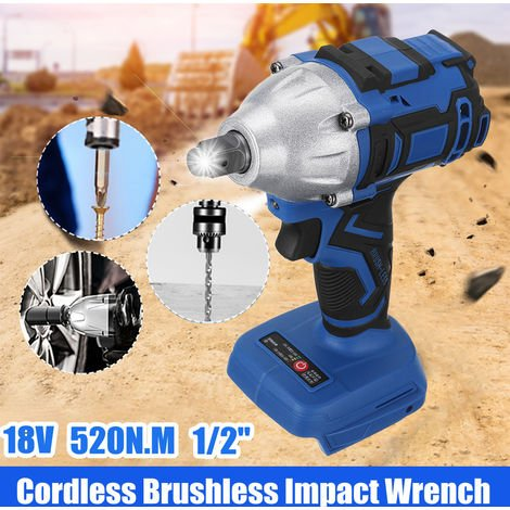 "[No Battery] Wireless Cordless Impact Wrench 520N.M With Led Work Light 1/2 ""Torque Electric Drill Screwdriver For Makita 18V Battery"