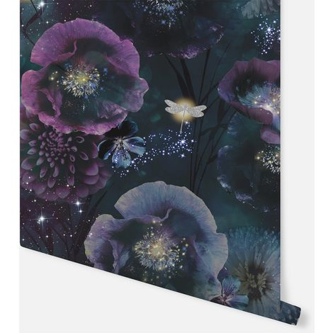Nocturnal Purple & Teal Wallpaper - Arthouse - 692301