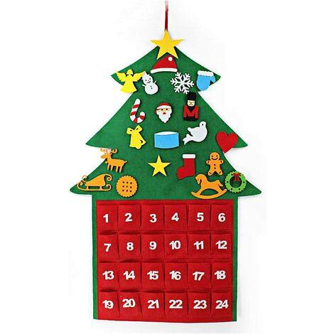 Noël Calendrier de L'avent à Suspendre, Feutre Arbre de Noël pour Compte à Rebours de 24 Jours, avec 21 Velcro, ornements et petite poche de rangement, Permettez le décor de DIY, 67.5 * 100CM