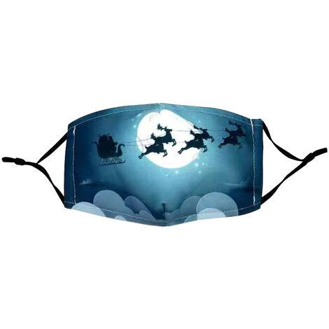 Noel Coton Masque Reglable Contour D'Oreille Anti-Poussiere Lavable Bouche Reutilisable Pere Noel Masque Pour Adulte Femmes Hommes, # 4