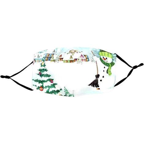 Noel Coton Masque Reglable Contour D'Oreille Anti-Poussiere Lavable Bouche Reutilisable Pere Noel Masque Pour Adulte Femmes Hommes, # 7