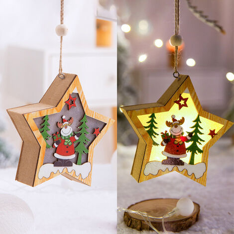 Noel Led En Bois Pendentif Lumineux De Decoration De Pendentif De Noel, Sapin Branches A Cerf Etoile Five