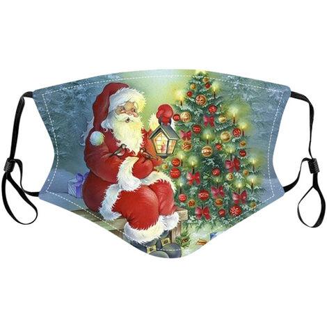 Noel Masque Lavable Reglable En Tissu Imprime Motif De Noel Masque Reutilisable Protection Du Visage Pour Adultes