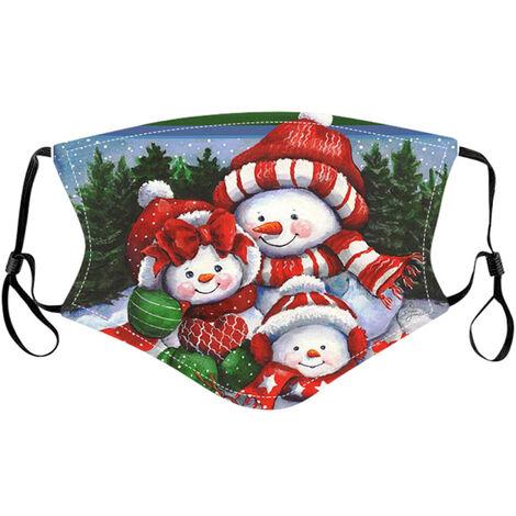 Noel Masque Lavable Reglable En Tissu Imprime Motif De Noel Masque Reutilisable Protection Du Visage Pour Enfants