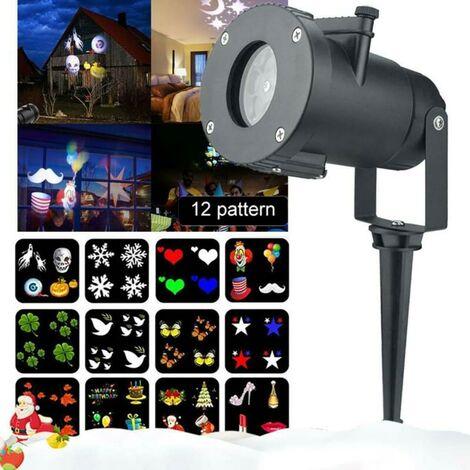 Noël Projecteur laser LED Lampe de projection de paysage extérieur Effet de lumière