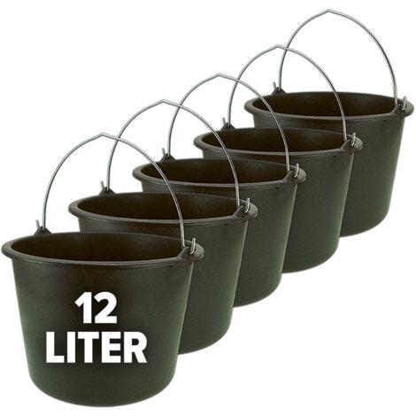 Nölle Eimer, Baueimer, Putzeimer, Mörteleimer mit Henkel 5er Set - 12 oder 20 Liter