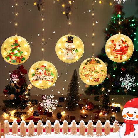 noeud chanceux lumieres de Noel decoration icicle jour lumieres de Noel vitrine PVC Telecommande chaine ampoules [Un modele de batterie unique] Pere Noel