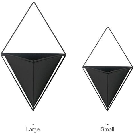 Noir 1A716 Pot de fleur mural simple non perfor¨¦ en forme de diamant