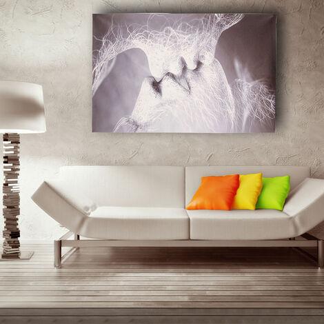 Noir et blanc amour baiser abstrait toile peinture impression photo décoration murale Art # 80 * 50 cm 80 * 50 cm noir