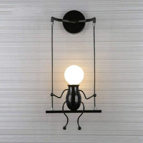 Noir Simple Poupée De Mode Balançoire Enfants Applique Murale Moderne Salon Chambre Créative De Chevet Mur Lumière Vacances/Cadeau De Mariage
