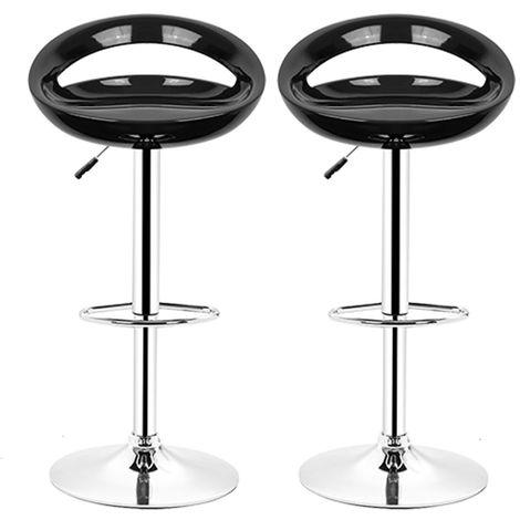 Noir Tabouret de bar lot de 2 réglables en plastique ABS, Hauteur réglables sur poignée 81 -101 cm