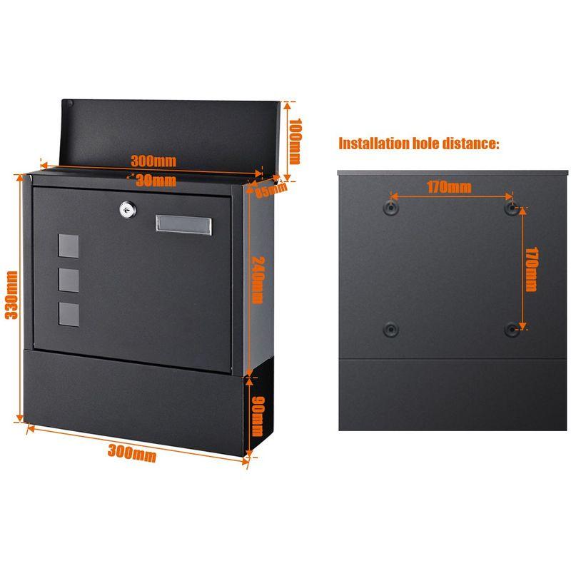 Noire Boîte aux Lettres Murale Design Porte Extérieur Intérieur Case  Courrier Postale à Journaux Standard Moderne