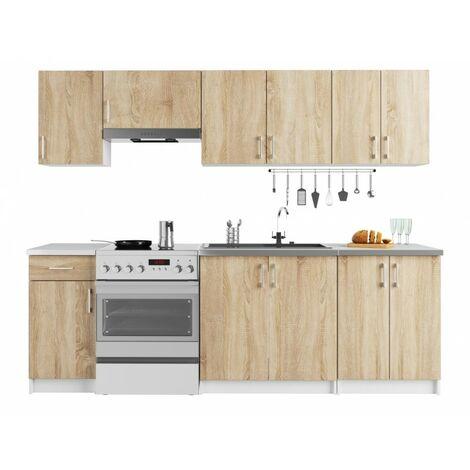 NOLA   Cuisine complète linéaire + modulaire 240 cm 7 pcs   Plan de travail INCLUS   Ensemble meubles armoires cuisine   Sonoma