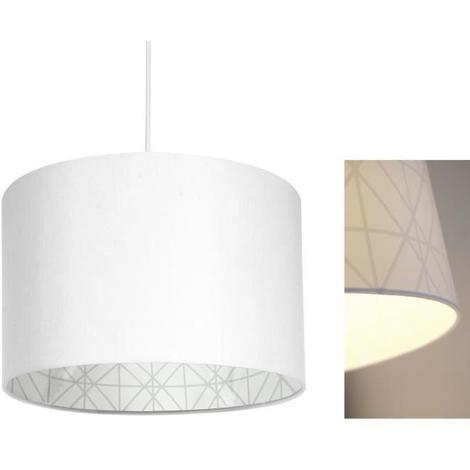 NOLAN Lustre - suspension diametre 30 cm hauteur 20 cm E27 40W blanc Seynave
