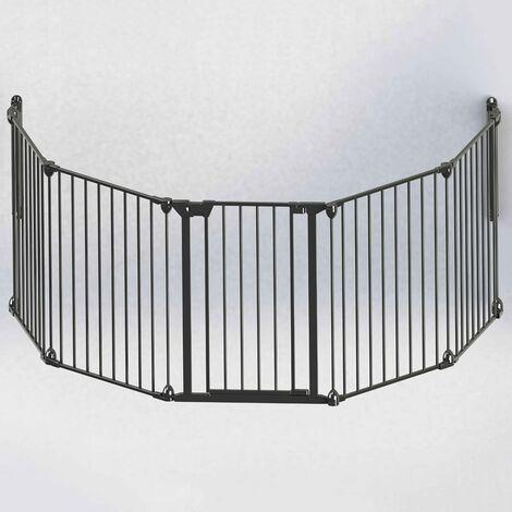 Noma Puerta de seguridad de 5 paneles Modular metal negro 94238