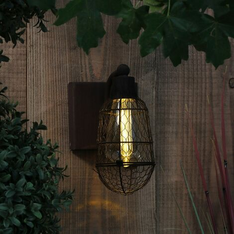 Noma Rustic Bulb Cage Wall Porch Entrance Light Battery Warm White LED Garden