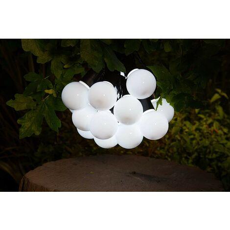 Noma Solar 20 LED White Festoon Bulb String Garden Lights 6817006