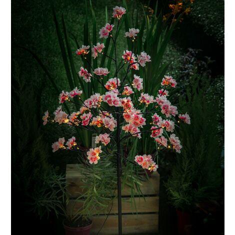 Noma Solar 4ft Pink & White Cherry Blossom LED Flower Tree Garden Light 3618009