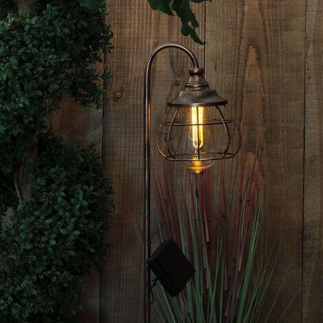 Noma Solar Copper Vintage Style Stake Light Lantern Garden Fisherman Light