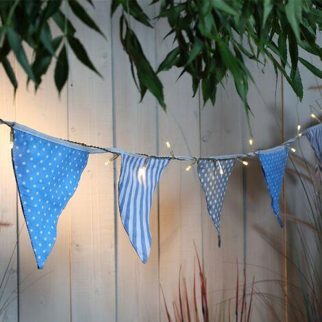 Noma Solar LED String Garden Lights & Blue Coastal Seaside Bunting 6819001