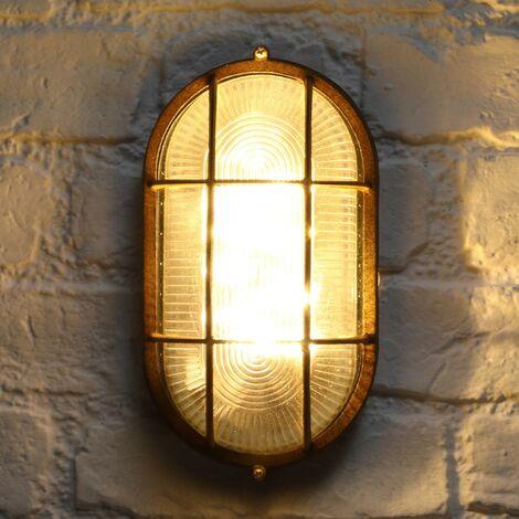 Noma Solar Oval Cage Bulk Head Rustic Copper Wall Porch Light Garden Outdoor