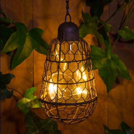 Noma Solar Rustic Bulb Cage Hanging Light Warm White LED Lantern Garden