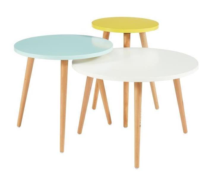 NOMADE 3 tables gigognes scandinave - Blanc / jaune et vert d\'eau laqué mat  - L 59 x l 59 cm / L 48 x l 48 cm et L 35 x l 35 cm - Aucune