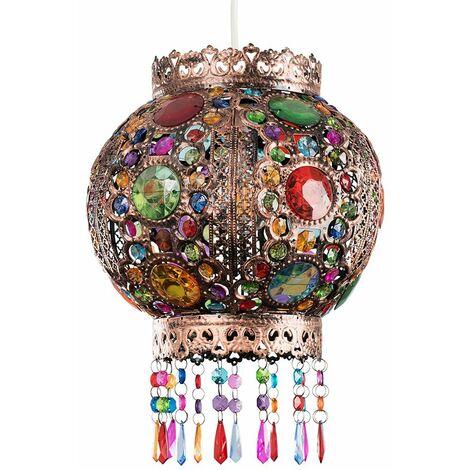 Non Electric Bronze Pendant Shade Moroccan Bazaar Coloured Gems - No Bulb