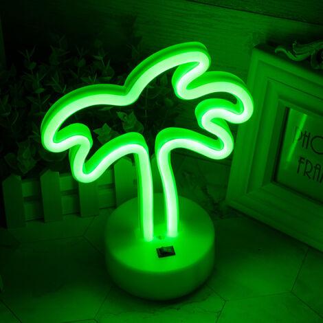 N¨¦on Flamingo avec base LED