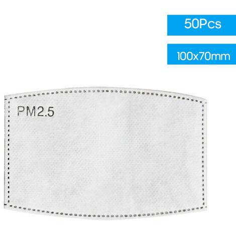 [Non medical] element filtrant protecteur a 6 couches, filtre de masque a charbon actif, filtre PM2,5, joint de masque, 50 paquets, enfants