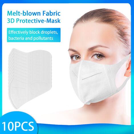 [Non medical] Masque de protection jetable 10PCS Masque de protection non tisse blanc ordinaire a 3 couches