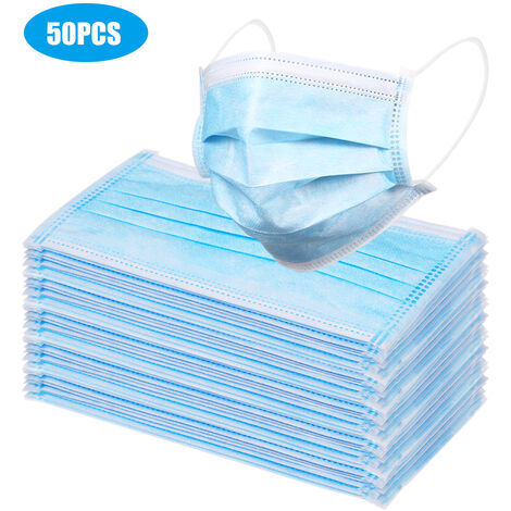 ¡¾Non medical¡¿ Masque de protection jetable 3 couches masque respirant et anti-poussiere bleu ordinaire 50PCS