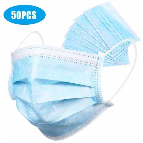 ¡¾Non medical¡¿ Masque jetable Masque sanitaire et civil a 3 couches permeable a l'air et a la poussiere 50PCS / boite