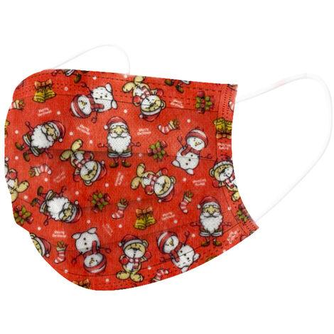 [Non medical] Masques jetables pour enfants avec 3 couches de protection 50 pcs / boite, Noel rouge