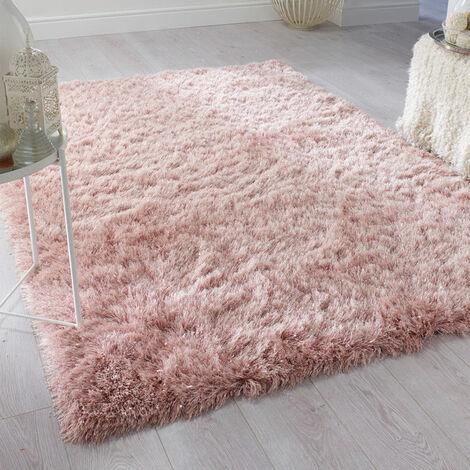 "main image of ""Non-slip Pink Silky Glitter Fur Rug Fluffy Carpet"""