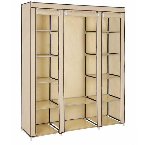 Non-Woven Fabric Wardrobe Cupboard Bedroom Furniture Storage 150 x 45 x 175cm Beige LSF03M