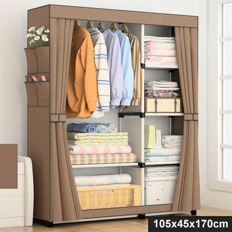 Non Woven Fabric Wardrobe Home Clothes Closet Storage Organizer 105x45x170cm