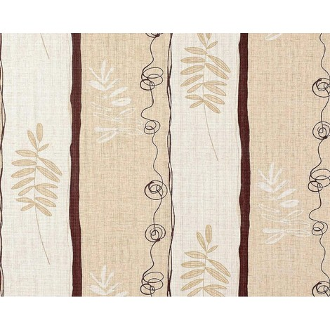 Non-woven wallpaper wall floral EDEM 685-91 wide stripes textured cream beige brown 10.65 sqm (114 sq ft)