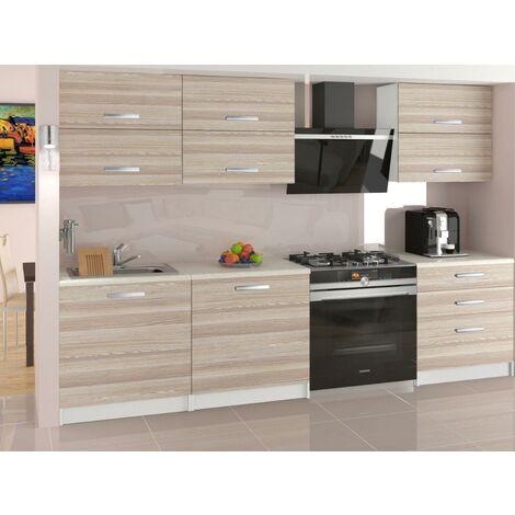 NOOK   Cuisine Complète Modulaire Linéaire L 180 cm 6 pcs   Plan de travail INCLUS   Ensemble armoires meubles de cuisine   Acacia
