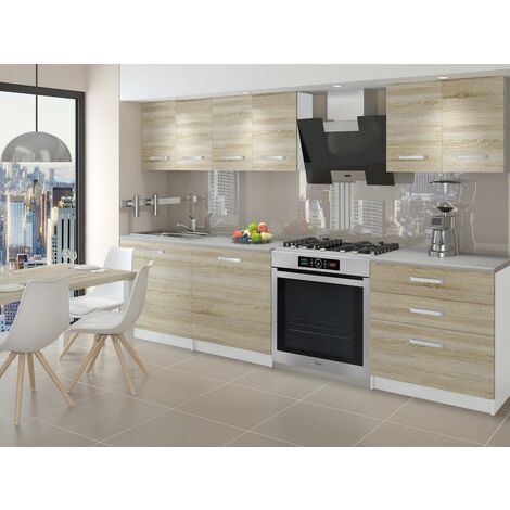 NOORA   Cuisine Complète Modulaire + Linéaire L 180 cm 6 pcs   Plan de travail INCLUS   Ensemble meubles cuisine   Sonoma