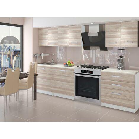 NOORA - Cuisine Complète Modulaire + Linéaire L 180cm 6 pcs - Plan de travail INCLUS - Ensemble meubles cuisine - Acacia