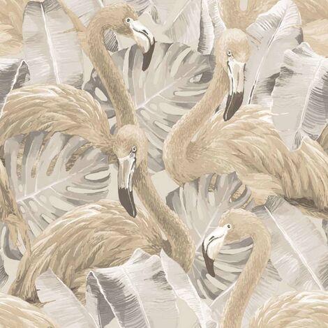 "main image of ""Noordwand Papel pintado Flamingo and Monstera beige - Beige"""