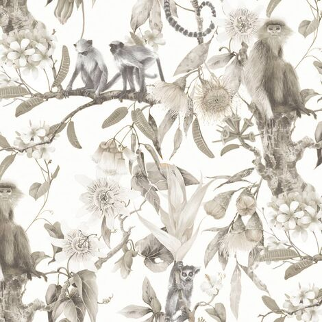Noordwand Wallpaper Exotic Monkeys Beige