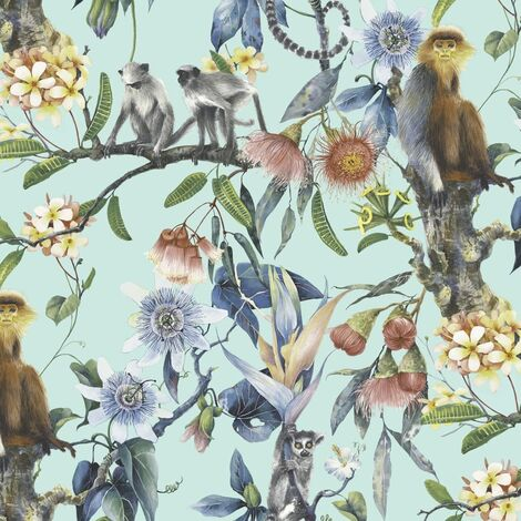 Noordwand Wallpaper Exotic Monkeys Turquoise