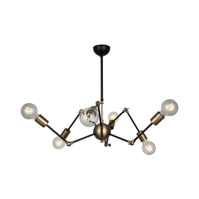 Homemania - Nope Haengelampe - Kronleuchter - Deckenkronleuchter - Gold, Schwarz aus Metall, 68 x 68 x 75 cm, 6 x E27, 40W
