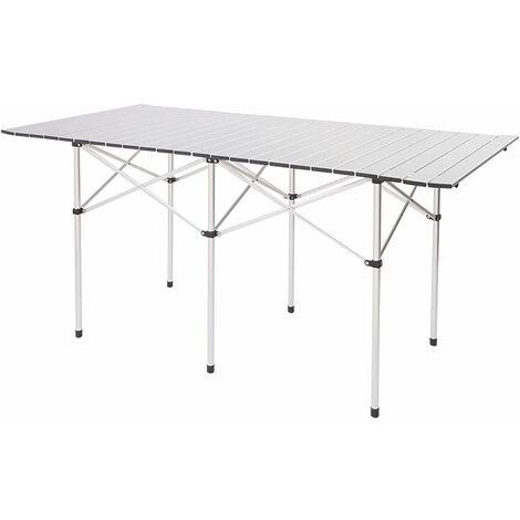 """main image of """"NORCKS Table Pliante Camping Table Pliable en Aluminium Portable pour Pique-Nique BBQ Barbecue Jardin Fête (140 x 70 x 70cm) - Argent"""""""
