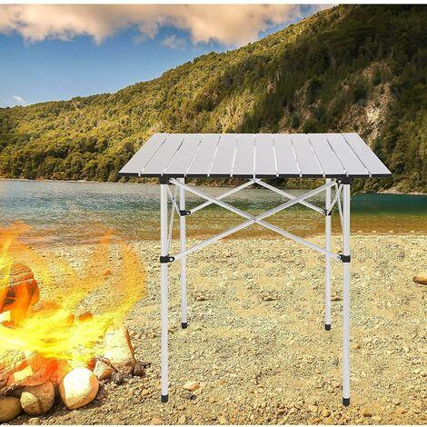 """main image of """"NORCKS Table Pliante Camping Table Pliable en Aluminium Portable pour Pique-Nique BBQ Barbecue Jardin Fête (70 x 70 x 70cm) - Argent"""""""