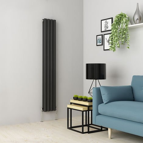 Norden 1600 x 237mm Anthracite Double Oval Tube Vertical Radiator