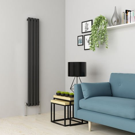 Norden 1600 x 237mm Anthracite Single Oval Tube Vertical Radiator