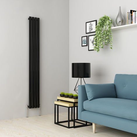 Norden 1600 x 237mm Black Single Oval Tube Vertical Radiator